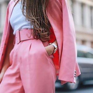 Blogger favourite pink high waist Zara pants